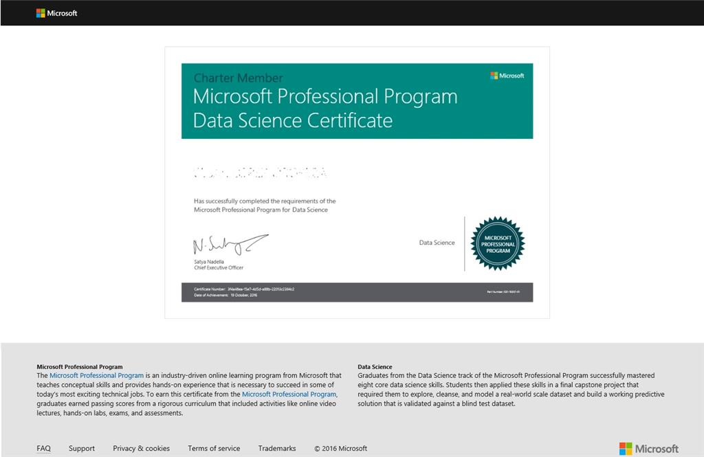 microsoft professional program certificate in data science ...