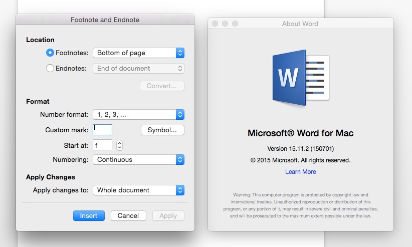 how to change endnotes to numbers word 2016 mac