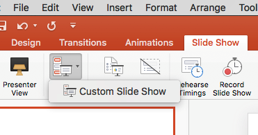 PowerPoint for Mac 2016 - Custom Show menu item is visible