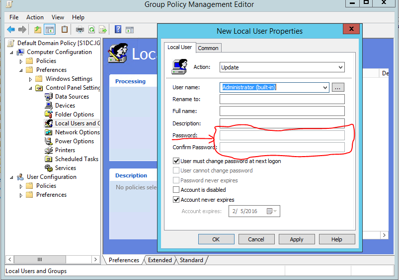 Change local admin password group policy windows 10