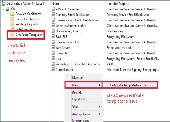 Top issue unable to connect to a wireless network that uses figure11 on the right panel right click the blank area then new one certificate template to issue yelopaper Choice Image