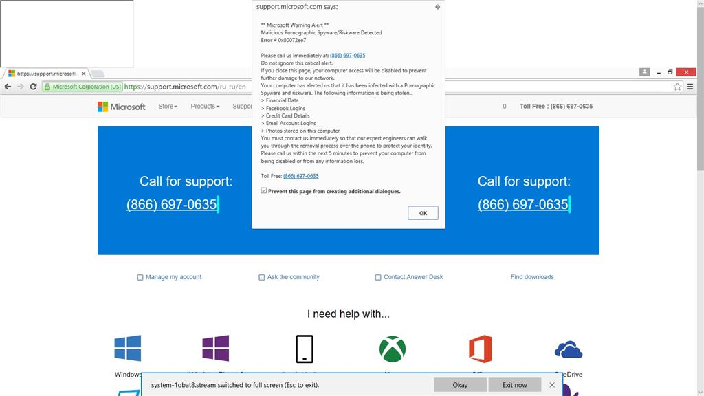 Just received a virus alert while using Microsoft Edge. Was trying