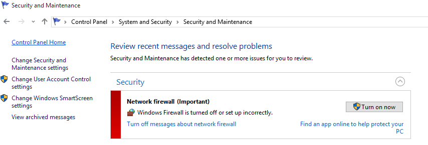 Windows 10 Gives Firewall-Turned-Off Notification on Every