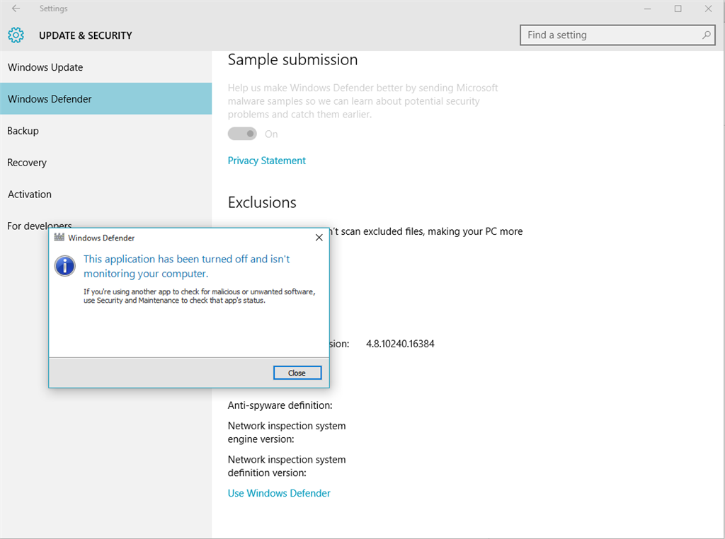 security and maintenance cannot turn on windows defender
