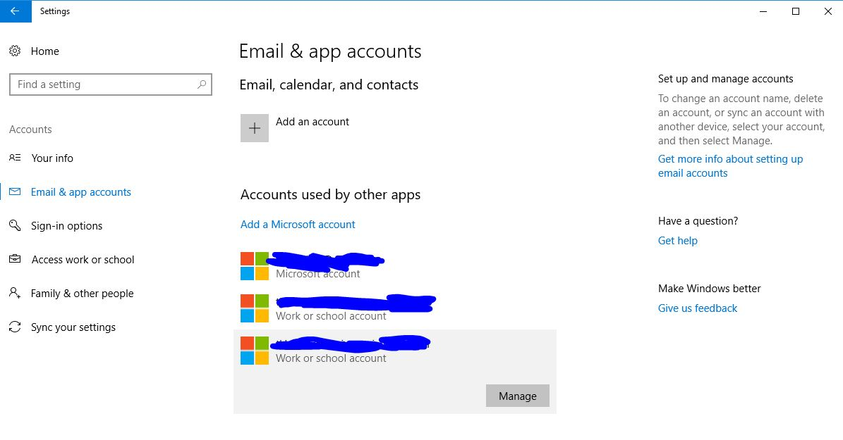 Can't remove accounts used by other apps - Microsoft Community