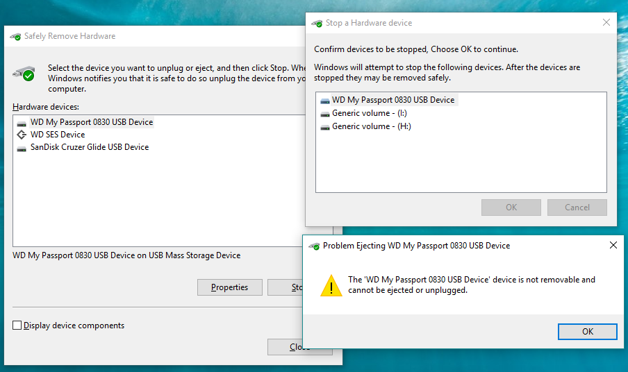External USB stick and External USB HDD not ejecting