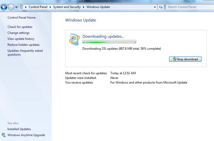 System update updates microsoft windows (Error Code 8007000E