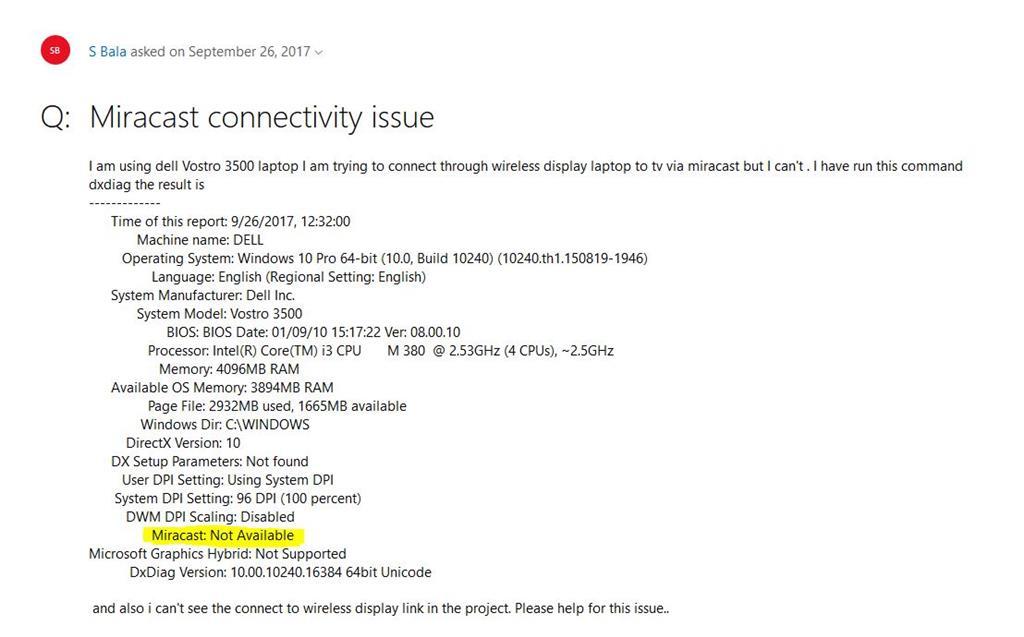 Miracast connectivity issue - Microsoft Community