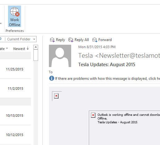 Outlook 2013 won\u0027t display linked images in \u0027work offline