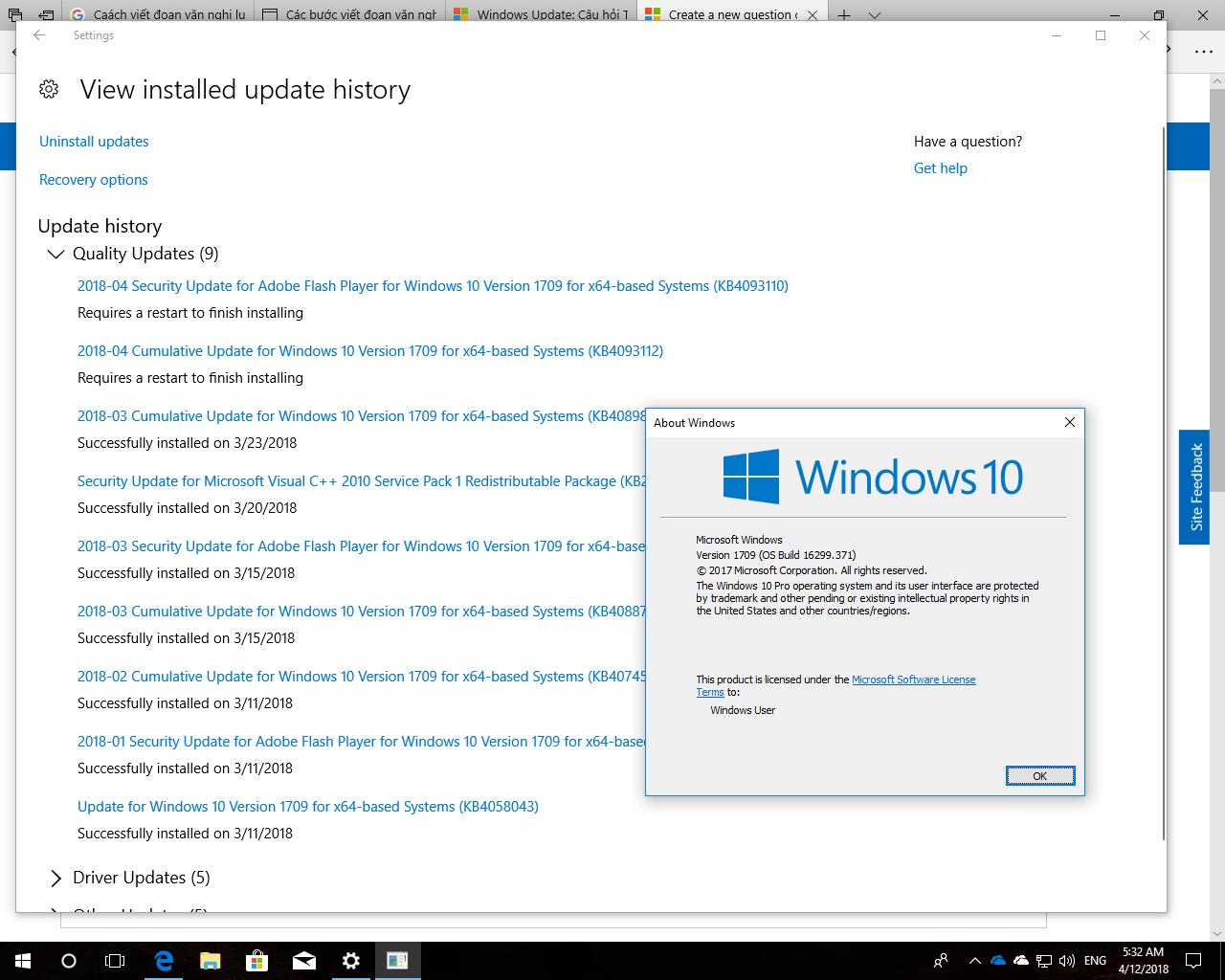 Windows Update reported