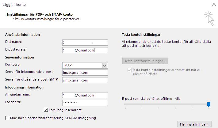 ansluta Gmail till Outlook