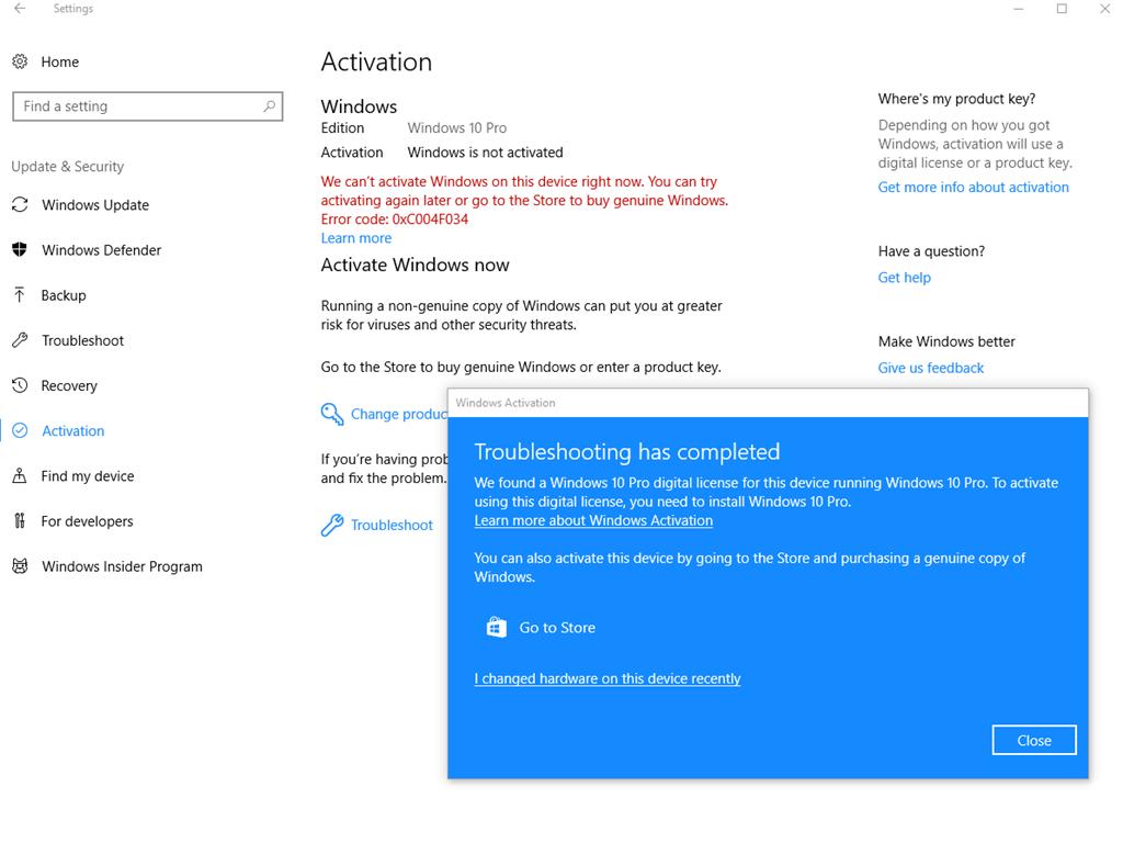 activate windows error fix