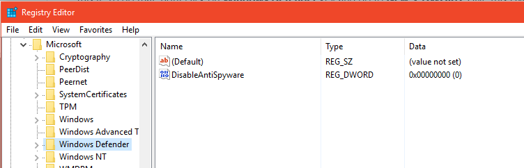 disableantispyware not working