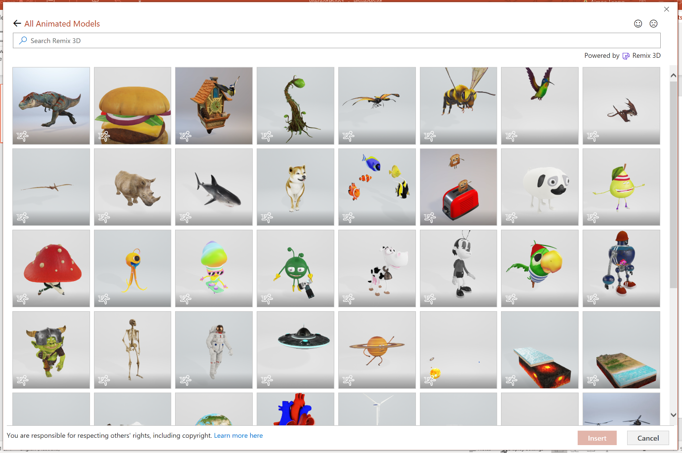 Tip all animated models are badged with the running man to easily identify image