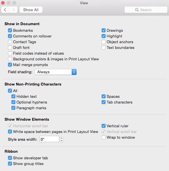 show scrollbar in word mac