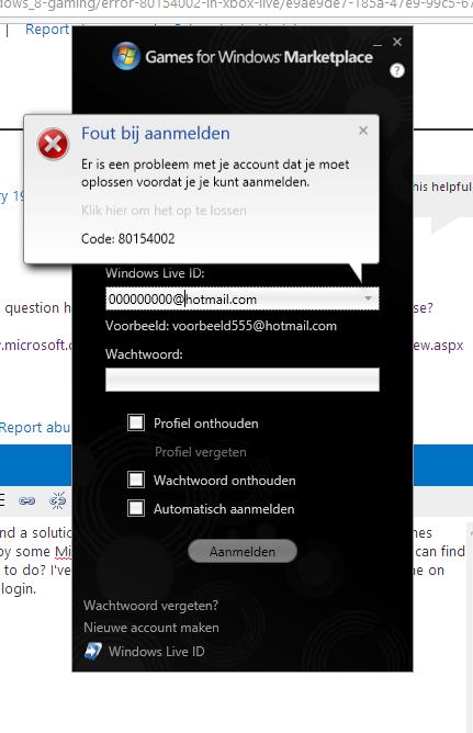 Xbox live windows 8 error
