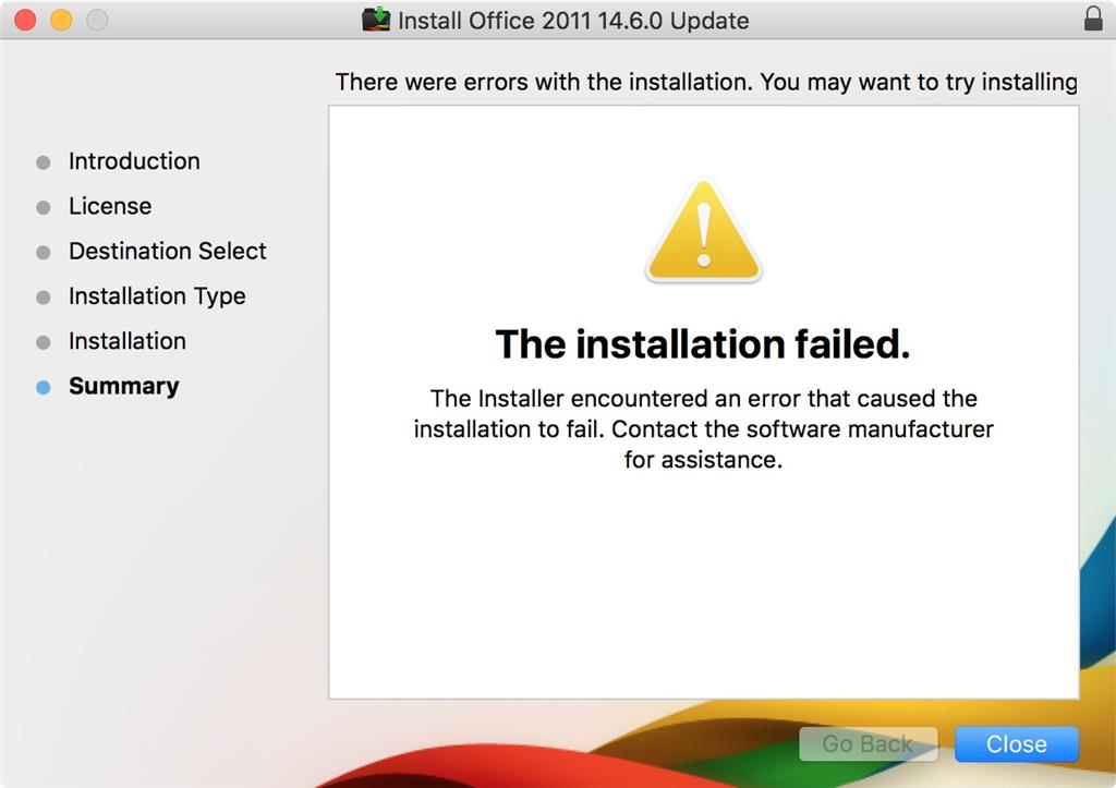 microsoft office 2011 mac installation failed