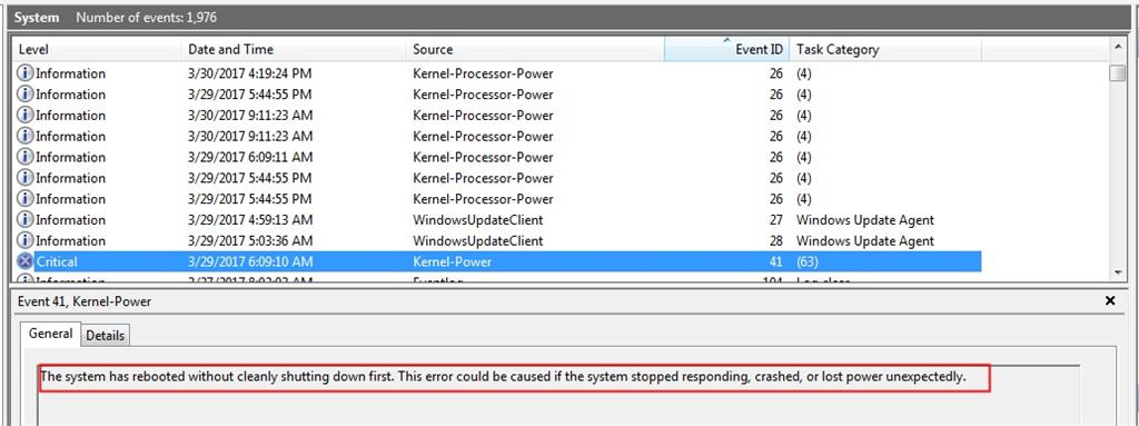 Kernel-powerx 41 (63) error - Microsoft Community