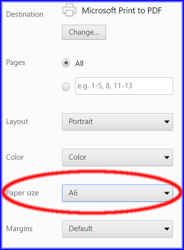 Microsoft Print to PDF - custom paper sizes possible
