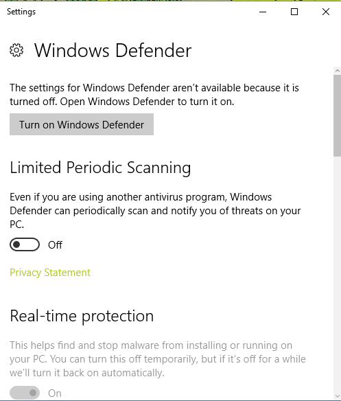 Windows Defender stopped working suddenly - Microsoft Community