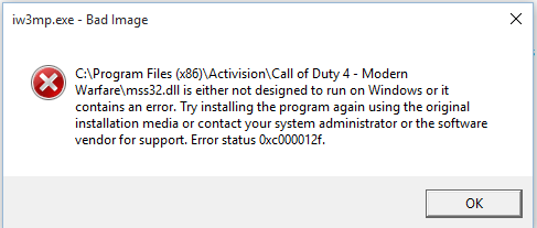 Can't Play Call Of Duty 4 On Windows 8 -