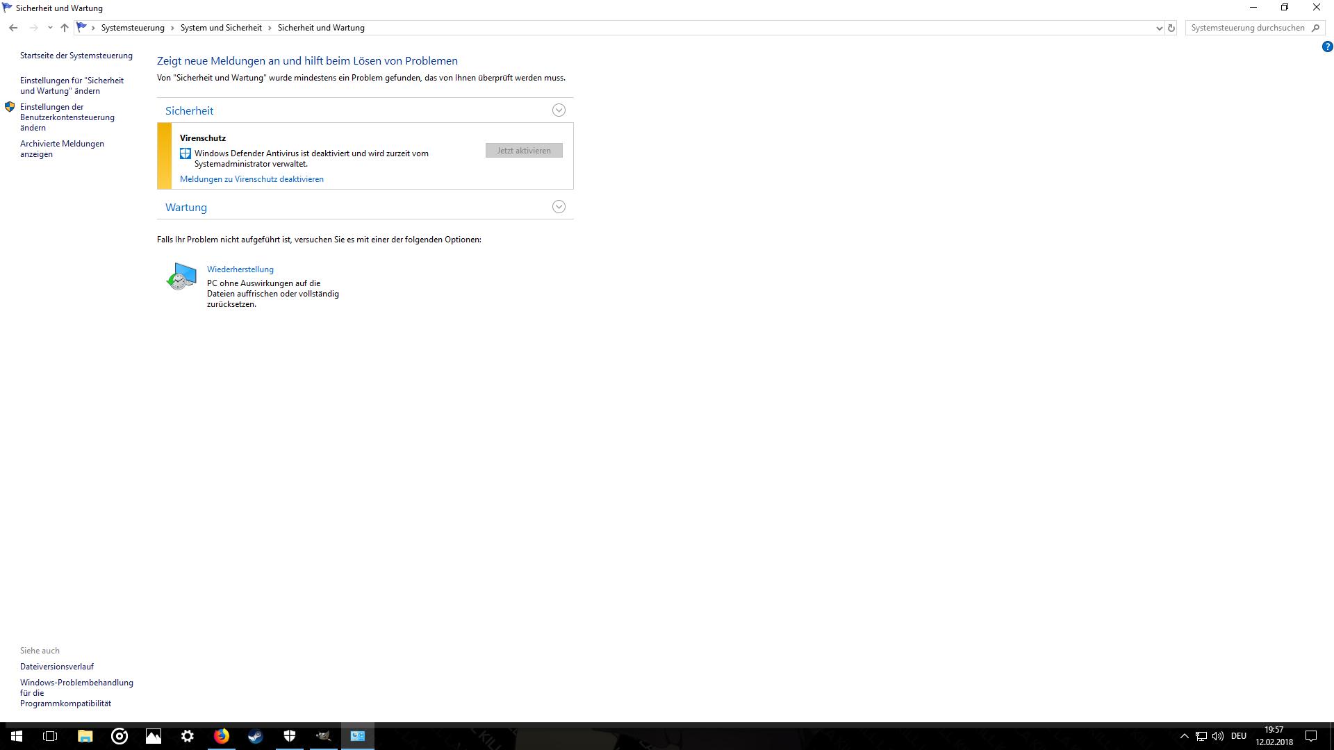 Windows Defender Aktivierung durch Systemadministrator gesperrt