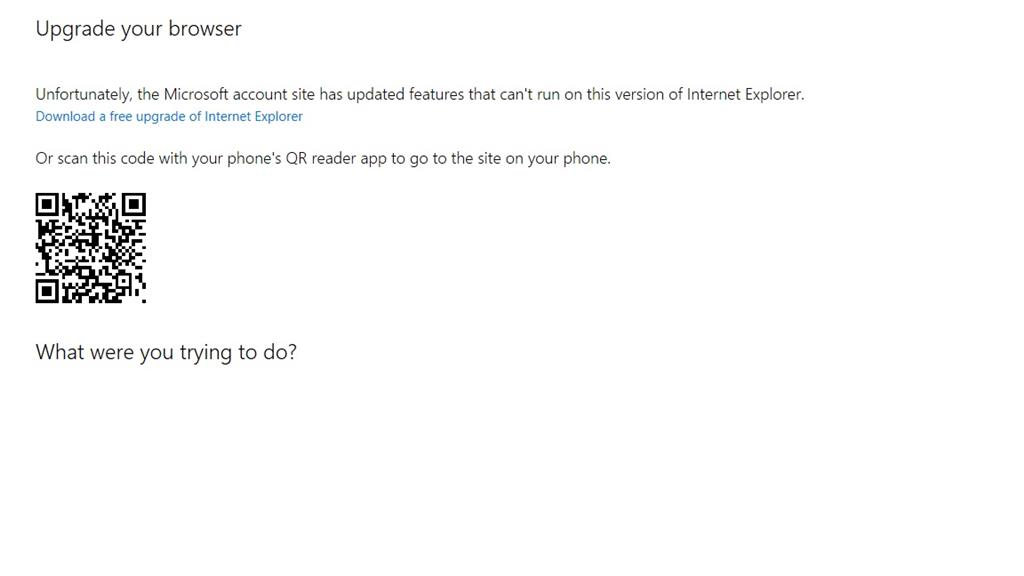 Can't manage Microsoft account from Windows 10/Edge/IE