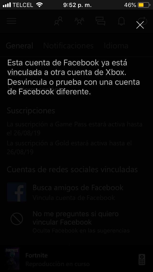 Como puedo solucionar esto :( jamás he vinculado ninguna cuenta de Facebook a Xbox[How can... [IMG]