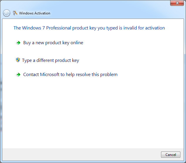 my windows 7 activation key has expired