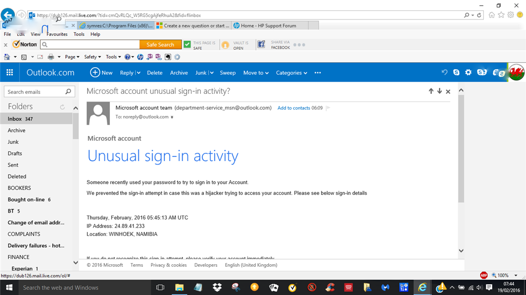 microsoft account team password reset code email