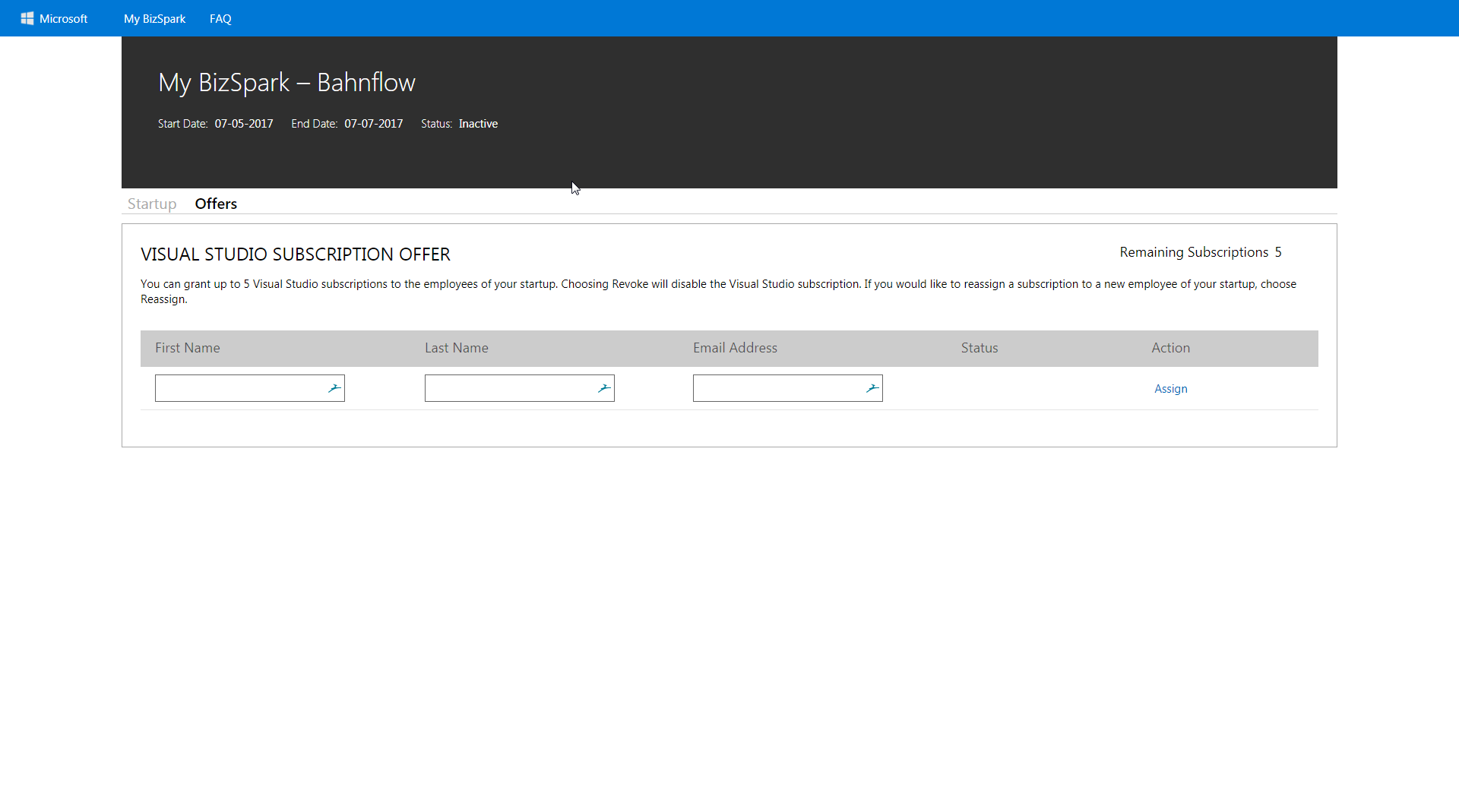 Bizspark Account Inactive And Graduation Offer Unavailable