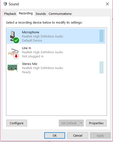 high definition audio device not plugged in windows 10