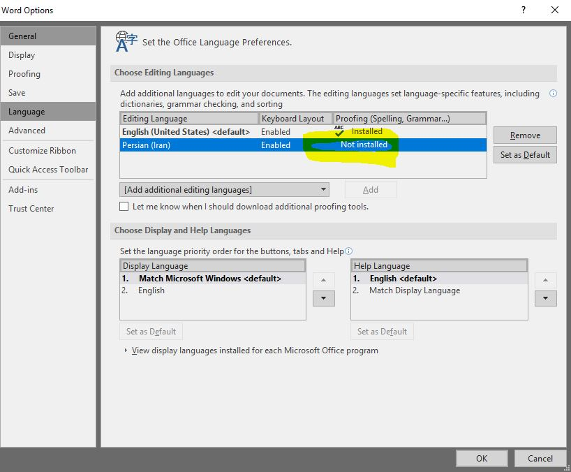 Install Persian language in Microsoft Word 2016 - Microsoft Community