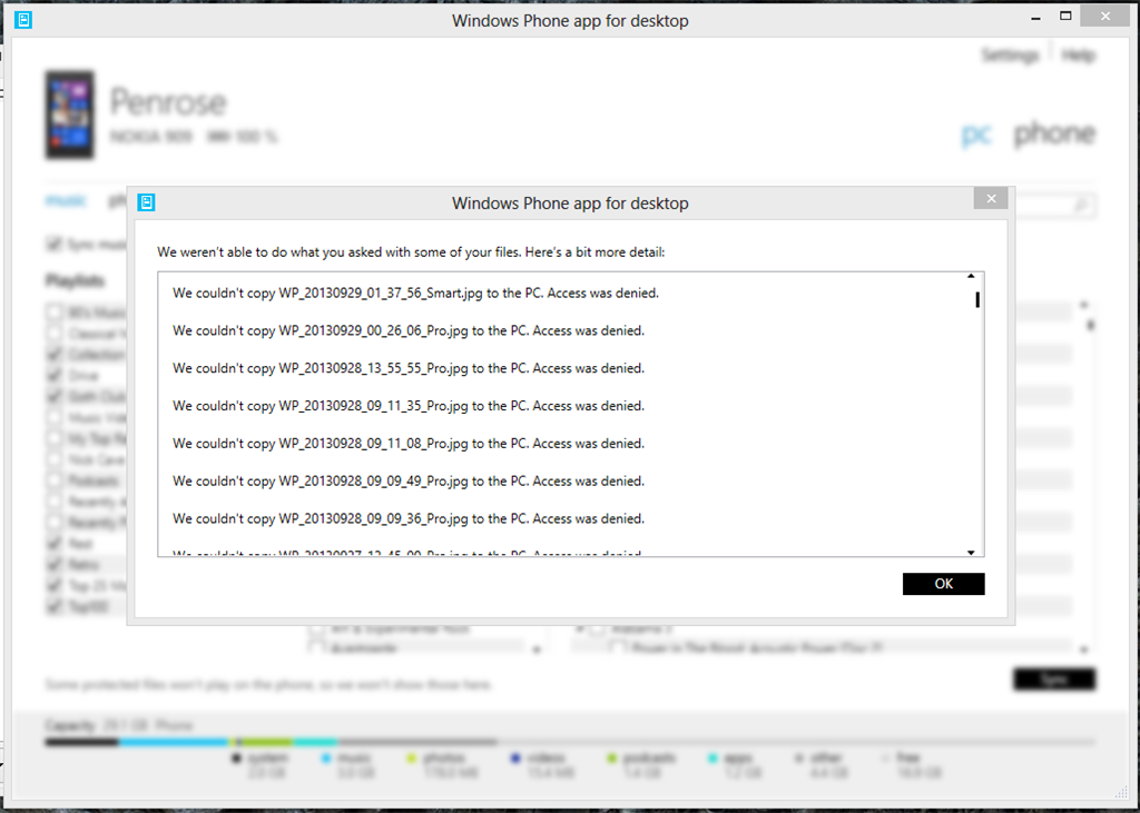 Windows Phone app for desktop: Photo sync permission failing
