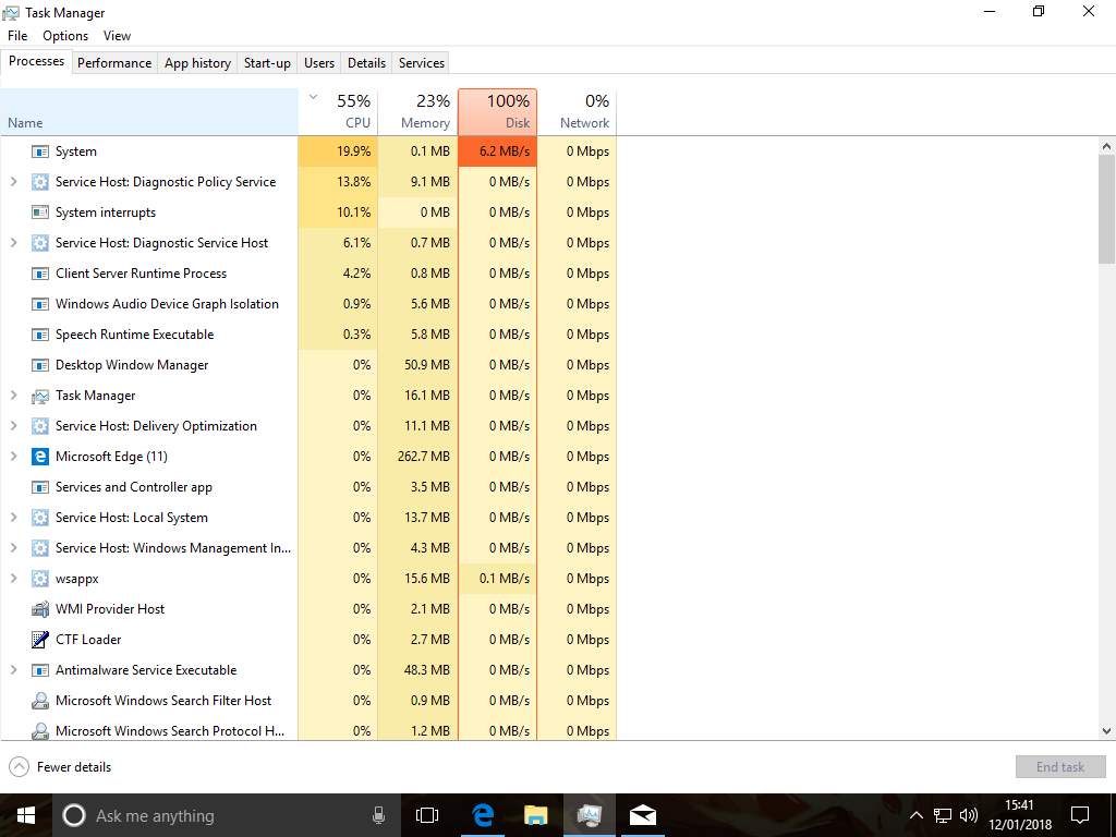 windows 10 100 disk usage on startup fix