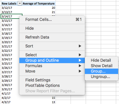 Excel for Mac - Pivot table grouping date by week - Microsoft Community