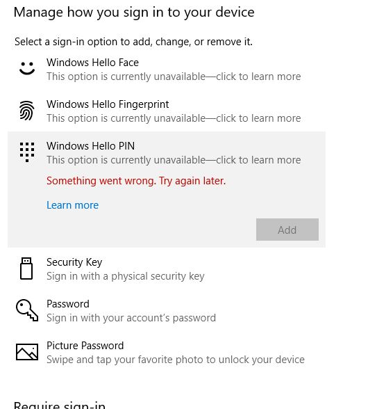 After update to 1903 Windows Hello no longer available on Domain
