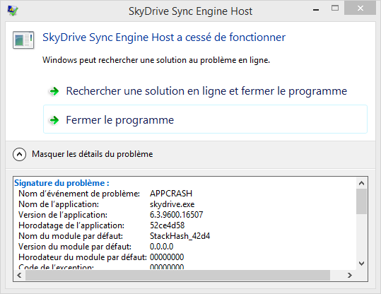 skydrive sync engine host a cess de fonctionner microsoft community. Black Bedroom Furniture Sets. Home Design Ideas