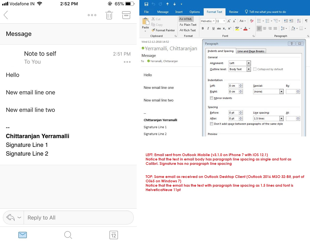 Outlook iOS App - Font & Line Spacing Issues - Microsoft Community
