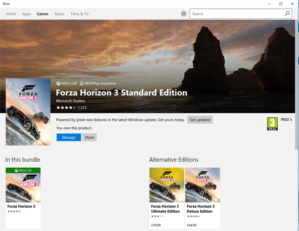 No download button for forza horizon 3 on windows 10 - Microsoft