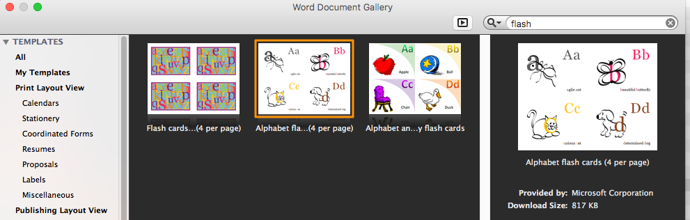 how to print flashcards on microsoft word