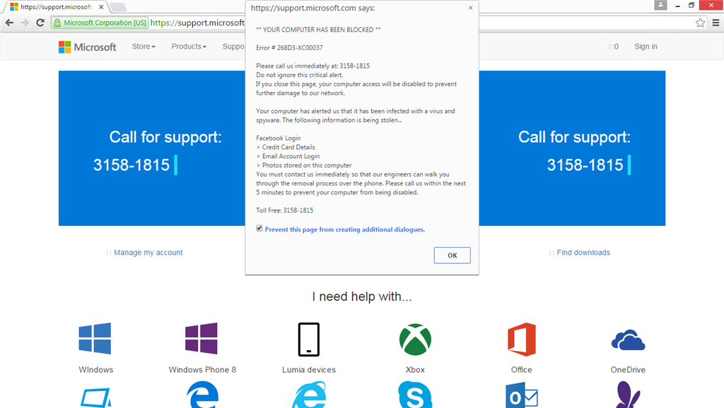 Web popup from https://support.microsoft.com claims - Microsoft