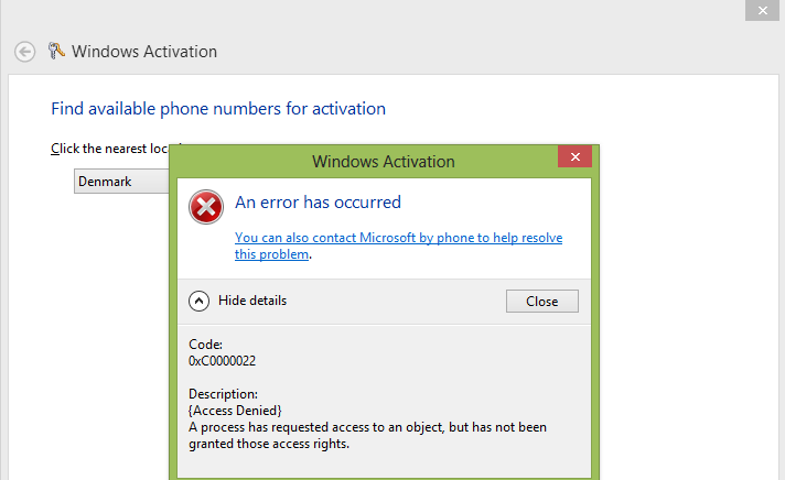 cannot activate windows 8.1 by phone