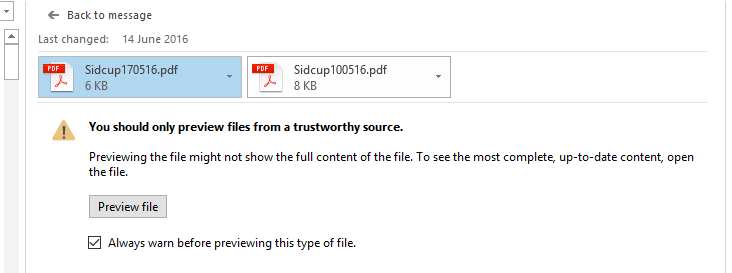 PDF previewer does not seem to be working in outlook 2016