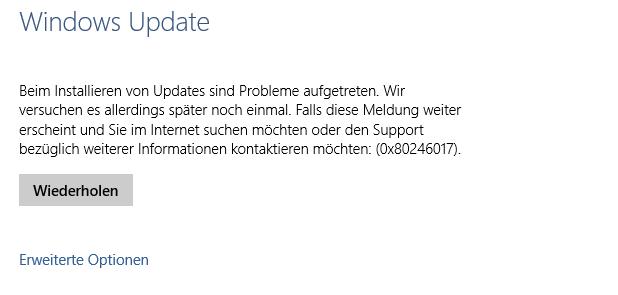 Windows 10 Update schlägt ständig fehl (0x80246017)