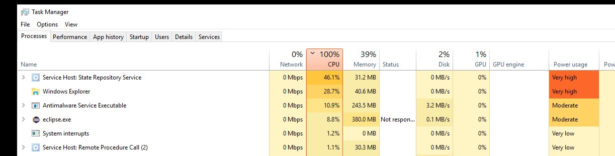 High CPU usage problem (Service Host: State Repository - Microsoft