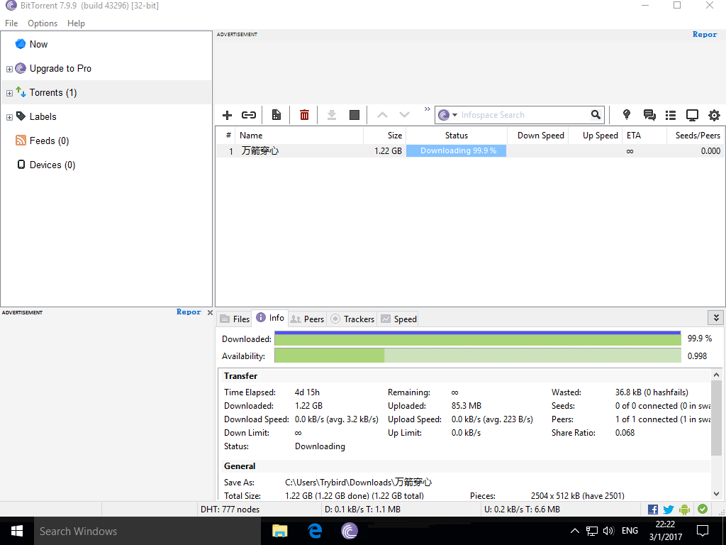 Why does the BitTorrent downloading process always stay at