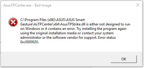 AsusTPCenter exe-Bad Image -- How to fix this problem? - Microsoft