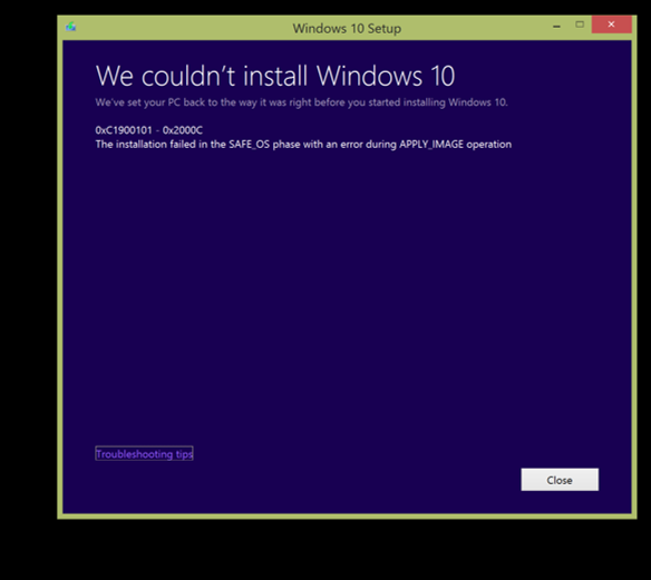 windows 81 i tried the free upgrade to windows 10 it freezes at 0 like all night when i hold the power button down to reboot i get this message