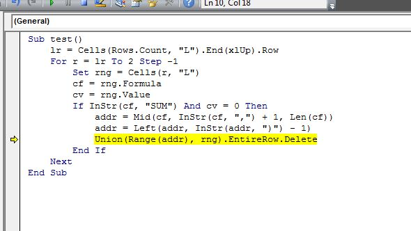 VBA error when trying to delete row when sum equals o ...